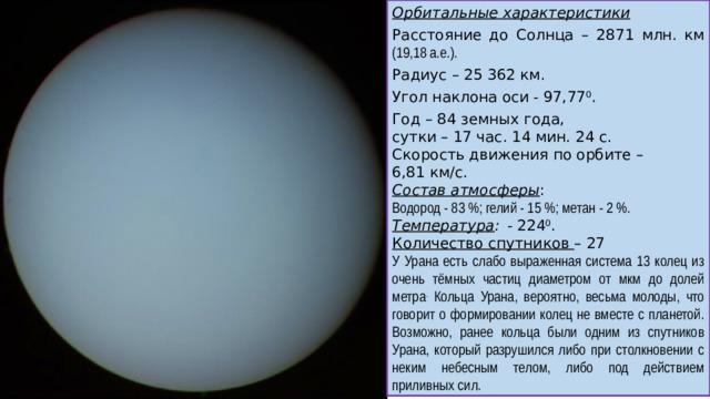 Орбитальные характеристики Расстояние до Солнца – 2871 млн. км (19,18 а.е.). Радиус – 25 362 км. Угол наклона оси - 97,77 0 . Год – 84 земных года, сутки – 17 час. 14 мин. 24 с. Скорость движения по орбите – 6,81 км/с. Состав атмосферы : Водород - 83%; гелий - 15%; метан - 2%. Температура :  - 224 0 . Количество спутников – 27 У Урана есть слабо выраженная система 13 колец из очень тёмных частиц диаметром от мкм до долей метра . Кольца Урана, вероятно, весьма молоды, что говорит о формировании колец не вместе с планетой. Возможно, ранее кольца были одним из спутников Урана, который разрушился либо при столкновении с неким небесным телом, либо под действием приливных сил.
