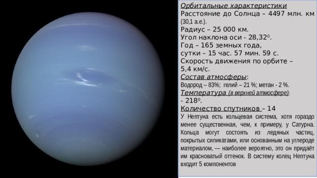 Орбитальные характеристики Расстояние до Солнца – 4497 млн. км (30,1 а.е.). Радиус – 25 000 км. Угол наклона оси - 28,32 0 . Год – 165 земных года, сутки – 15 час. 57 мин. 59 с. Скорость движения по орбите – 5,4 км/с. Состав атмосферы : Водород – 83%; гелий – 21%; метан - 2%. Температура (в верхней атмосфере) : - 218 0 . Количество спутников – 14 У Нептуна есть кольцевая система, хотя гораздо менее существенная, чем, к примеру, у Сатурна. Кольца могут состоять из ледяных частиц, покрытых силикатами, или основанным на углероде материалом,— наиболее вероятно, это он придаёт им красноватый оттенок. В систему колец Нептуна входит 5 компонентов