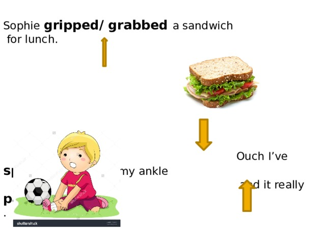 Sophie gripped/ grabbed a sandwich  for lunch.  Ouch I've sprained/pulled my ankle  and it really pain/hurts. .