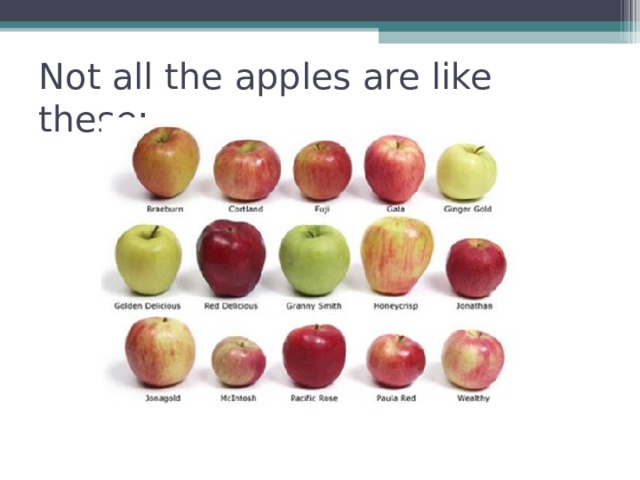 Not all the apples are like these: