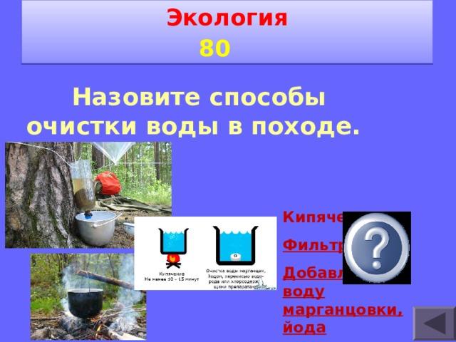 Экология 8 0    Назовите способы очистки воды в походе.   Кипячение Фильтрация Добавление в воду марганцовки, йода