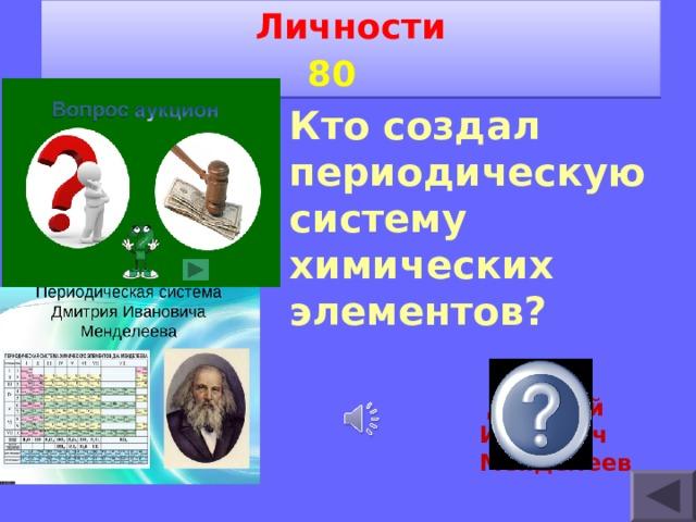 Личности 8 0   Кто создал периодическую систему химических элементов?  Дмитрий Иванович Менделеев