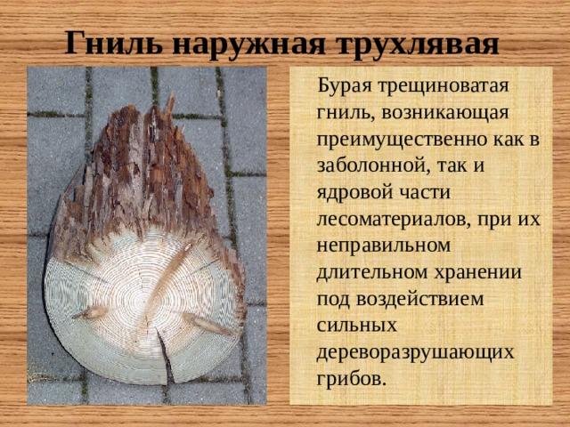 Гниль наружная трухлявая  Бурая трещиноватая гниль, возникающая преимущественно как в заболонной, так и ядровой части лесоматериалов, при их неправильном длительном хранении под воздействием сильных дереворазрушающих грибов.