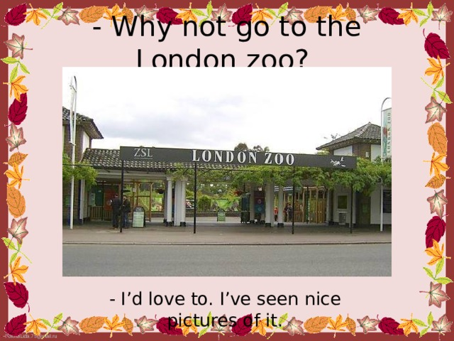 - Why not go to the London zoo?  - I'd love to. I've seen nice pictures of it.