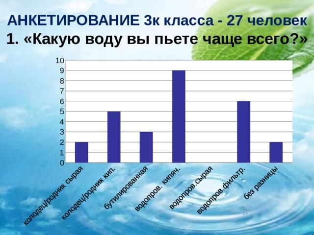 АНКЕТИРОВАНИЕ 3к класса - 27 человек  1. «Какую воду вы пьете чаще всего?»