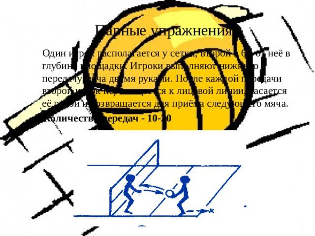 Парные упражнения  Один игрок располагается у сетки, второй в 6м от неё в глубине площадки. Игроки выполняют нижнюю передачу мяча двумя руками. После каждой передачи второй игрок перемещается к лицевой линии, касается её рукой и возвращается для приёма следующего мяча.  Количество передач - 10-20