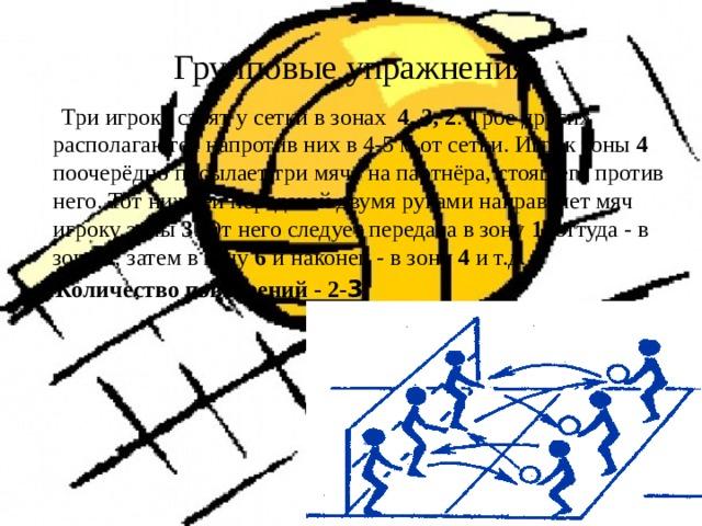 Групповые упражнения  Три игрока стоят у сетки в зонах 4, 3, 2 . Трое других располагаются напротив них в 4-5 м от сетки. Игрок зоны 4 поочерёдно посылает три мяча на партнёра, стоящего против него. Тот нижней передачей двумя руками направляет мяч игроку зоны 3 . От него следует передача в зону 1 , оттуда - в зону 2 , затем в зону 6 и наконец - в зону 4 и т.д.  Количество повторений - 2- 3