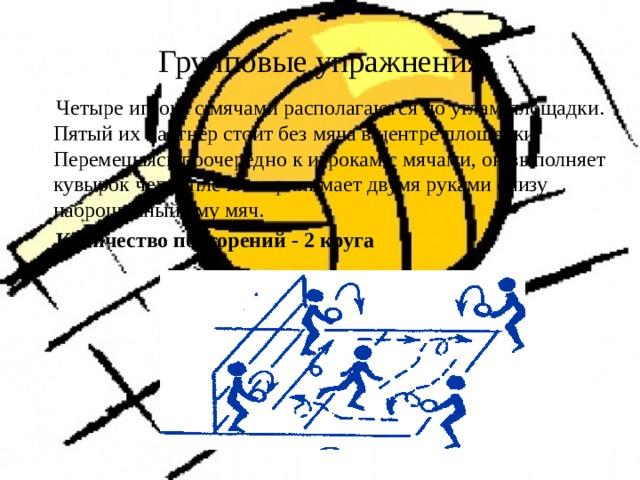 Групповые упражнения   Четыре игрока с мячами располагаются по углам площадки. Пятый их партнёр стоит без мяча в центре площадки. Перемещаясь поочерёдно к игрокам с мячами, он выполняет кувырок через плечо и принимает двумя руками снизу наброшенный ему мяч.  Количество повторений - 2 круга
