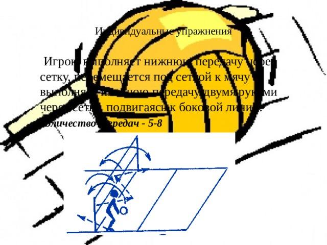 Индивидуальные упражнения    Игрок выполняет нижнюю передачу через сетку, перемещается под сеткой к мячу и выполняет нижнюю передачу двумя  руками через сетку, подвигаясь к боковой линии.  Количество передач - 5-8