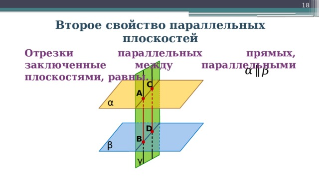 18 Второе свойство параллельных плоскостей Отрезки параллельных прямых, заключенные между параллельными плоскостями, равны. α  ‖  β C A α D B β γ