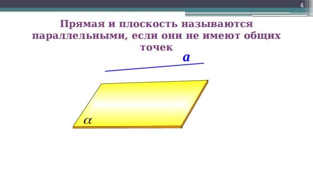 Прямая и плоскость называются параллельными, если они не имеют общих точек a