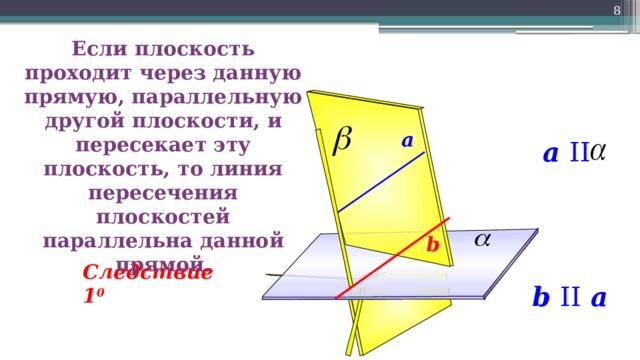 8 Если плоскость проходит через данную прямую, параллельную другой плоскости, и пересекает эту плоскость, то линия пересечения плоскостей параллельна данной прямой. a a II b Следствие 1 0 b II a 8