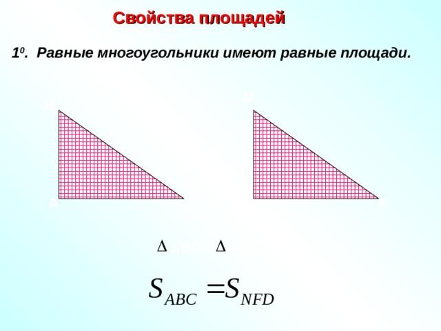 Свойства площадей 1 0 . Равные многоугольники имеют равные площади. D В N F А С А BC = NFD