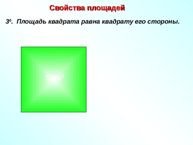 Свойства площадей  3 0 . Площадь квадрата равна квадрату его стороны.  а  S=a 2 а
