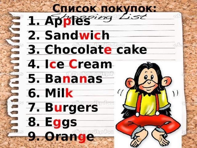 Список покупок: 1. Ap p les 2. Sand w i c h 3. Chocolat e cake 4. I c e C ream 5. Ba n a n as 6. Mil k 7. B u rgers 8. E g gs 9. Oran g e