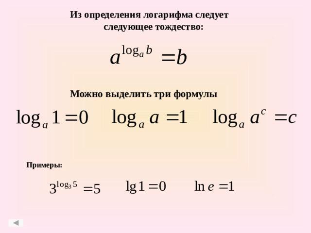 Из определения логарифма следует следующее тождество: Можно выделить три формулы Примеры:
