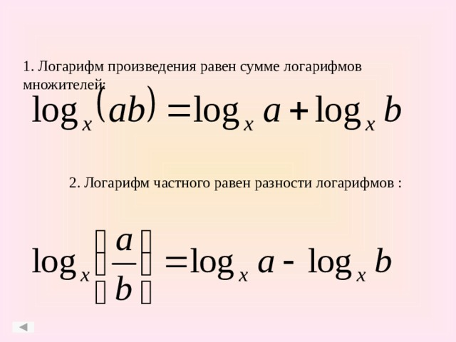 1. Логарифм произведения равен сумме логарифмов множителей: 2. Логарифм частного равен разности логарифмов :