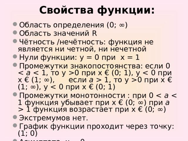Свойства функции: