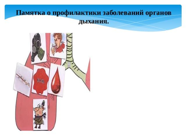 Памятка о профилактики заболеваний органов дыхания.