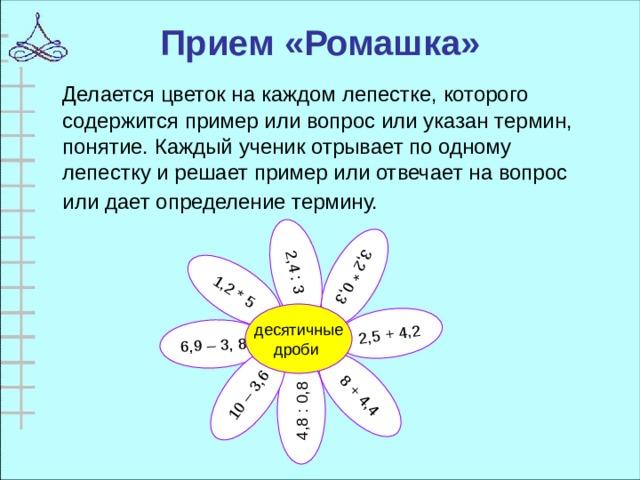 6,9 – 3, 8 8 + 4,4 1,2 * 5 4,8 : 0,8 10 – 3,6 2,5 + 4,2 3,2 * 0,3 2,4 : 3 Прием «Ромашка»  Делается цветок на каждом лепестке, которого содержится пример или вопрос или указан термин, понятие. Каждый ученик отрывает по одному лепестку и решает пример или отвечает на вопрос или дает определение термину.  десятичные дроби
