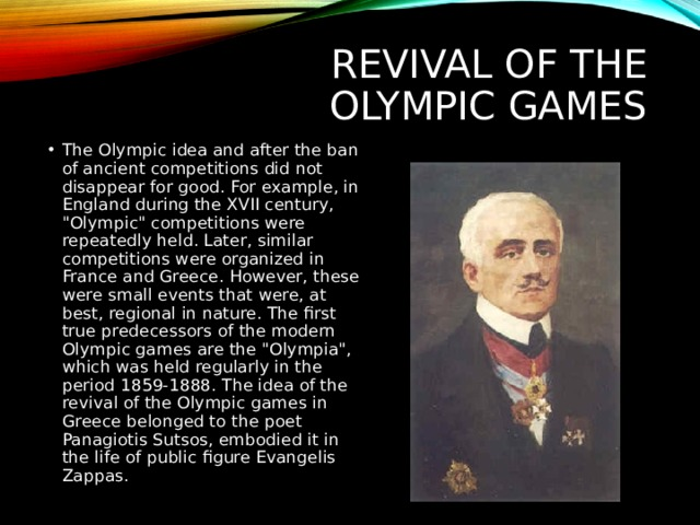 Revival of the Olympic games