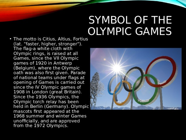 Symbol of the Olympic games
