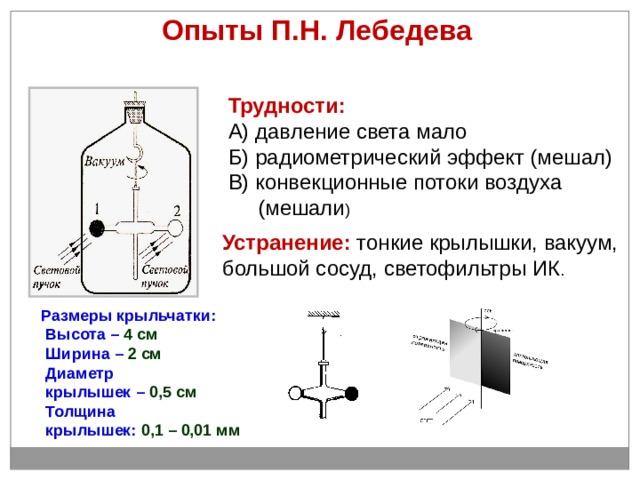 Опыты П.Н. Лебедева Трудности: А) давление света мало Б) радиометрический эффект (мешал) В) конвекционные потоки воздуха  (мешали ) Устранение: тонкие крылышки, вакуум, большой сосуд, светофильтры ИК . Размеры крыльчатки:  Высота – 4 см  Ширина – 2 см  Диаметр  крылышек – 0,5 см  Толщина  крылышек: 0,1 – 0,01 мм