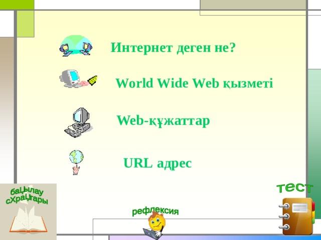 Интернет деген не? World Wide Web қызметі Web -құжаттар URL адрес