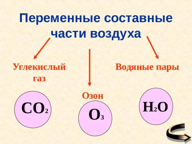 Переменные составные части воздуха Углекислый газ Водяные пары Озон CO 2 H 2 O O 3
