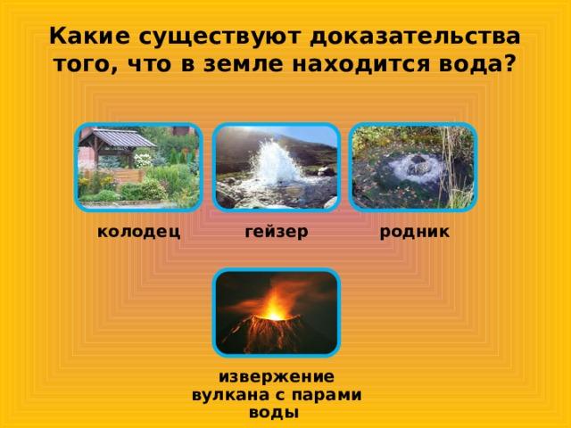 Какие существуют доказательства того, что в земле находится вода? колодец гейзер родник извержение вулкана с парами воды