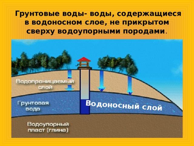 Водоносный слой  Грунтовые воды- воды, содержащиеся в водоносном слое, не прикрытом сверху водоупорными породами .