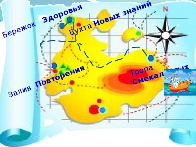 Тропа Смекалистых Бухта Новых знаний Залив Повторения Бережок Здоровья