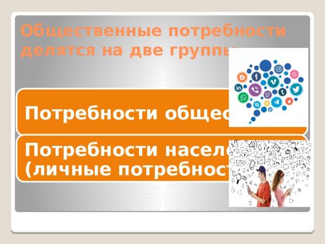 Общественные потребности делятся на две группы Потребности общества Потребности населения (личные потребности)