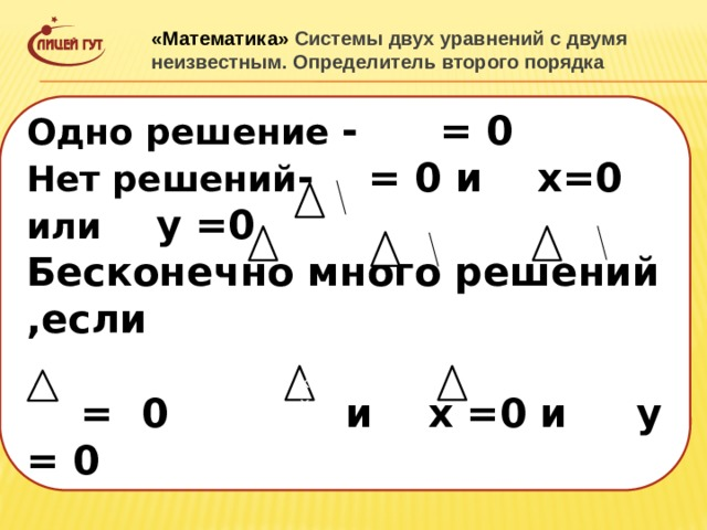 «Математика» Системы двух уравнений с двумя неизвестным. Определитель второго порядка Одно решение - = 0 Нет решений - = 0 и х=0 или у =0 Бесконечно много решений ,если   = 0 и х =0 и у = 0 хх