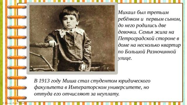 Михаил был третьим ребёнком и первым сыном, до него родились две девочки. Семья жила на Петроградской стороне в доме на несколько квартир по Большой Разночинной улице.  В 1913 году Миша стал студентом юридического факультета в Императорском университете, но оттуда его отчисляют за неуплату.