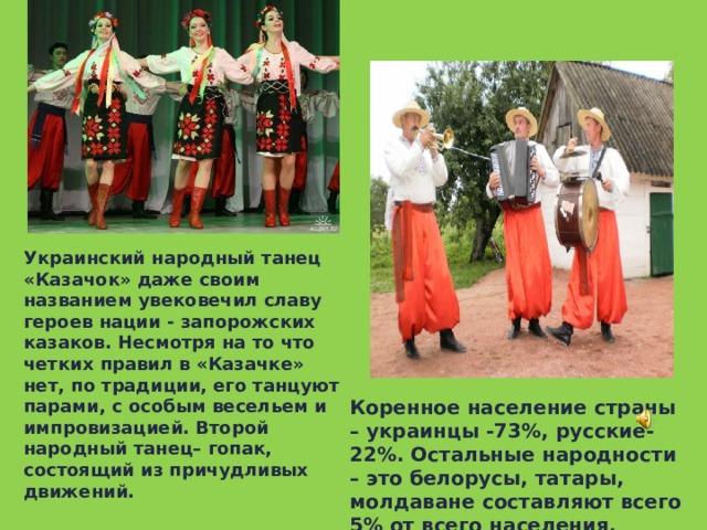 УКРАИНА Украинский народный танец «Казачок» даже своим названием увековечил славу героев нации - запорожских казаков. Несмотря на то что четких правил в «Казачке» нет, по традиции, его танцуют парами, с особым весельем и импровизацией. Второй народный танец– гопак, состоящий из причудливых движений.    Коренное население страны – украинцы -73%, русские- 22%. Остальные народности – это белорусы, татары, молдаване составляют всего 5% от всего населения.