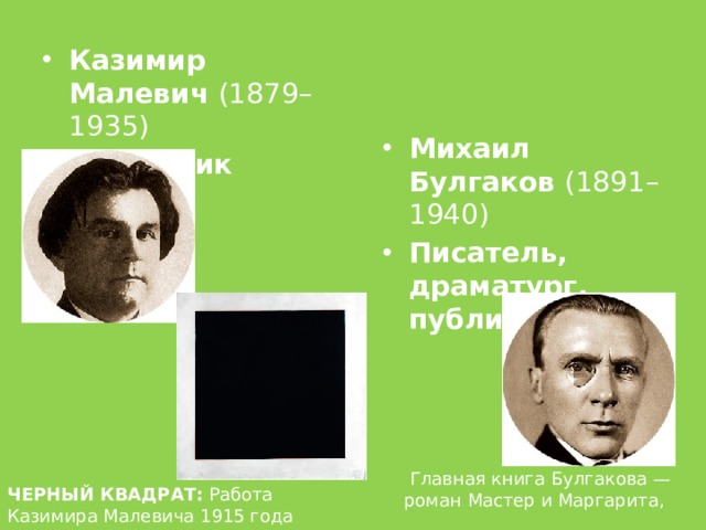 Казимир Малевич (1879–1935) Художник Михаил Булгаков (1891–1940) Писатель, драматург, публицист