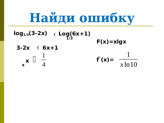Найди ошибку  log 1/3 (3-2x) Log(6x+1) 1/3 F(x)=xlgx f  (x)= 6x+1 3-2x х x
