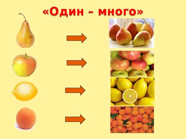 «Один – много» Детям предлагается картинка, на которой изображены один фрукт и много таких же фруктов. Ребёнок называет их (груша-груши, одна груша-много груш).