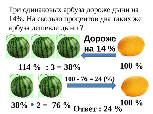 Три одинаковых арбуза дороже дыни на 14%. На сколько процентов два таких же арбуза дешевле дыни ? Дороже на 14 % 100 % 114 % : 3 = 38% 100 - 76 = 24 (%) 100 % 38% 2 = 76 % Ответ : 24 %