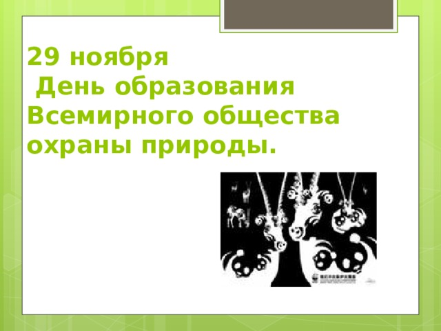 29 ноября  День образования Всемирного общества охраны природы.