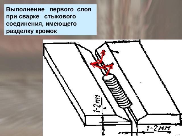 Выполнение первого слоя при сварке стыкового соединения, имеющего разделку кромок