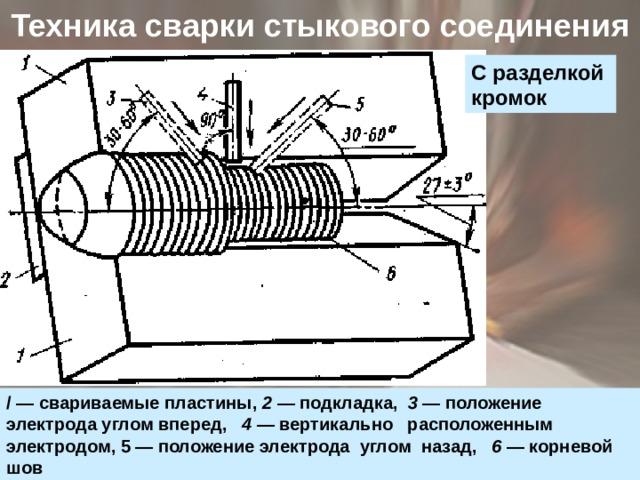 Техника сварки стыкового соединения   С разделкой кромок / — свариваемые пластины, 2 — подкладка, 3 — положение электрода углом вперед, 4 — вертикально расположенным электродом, 5 — положение электрода углом назад, 6 — корневой шов