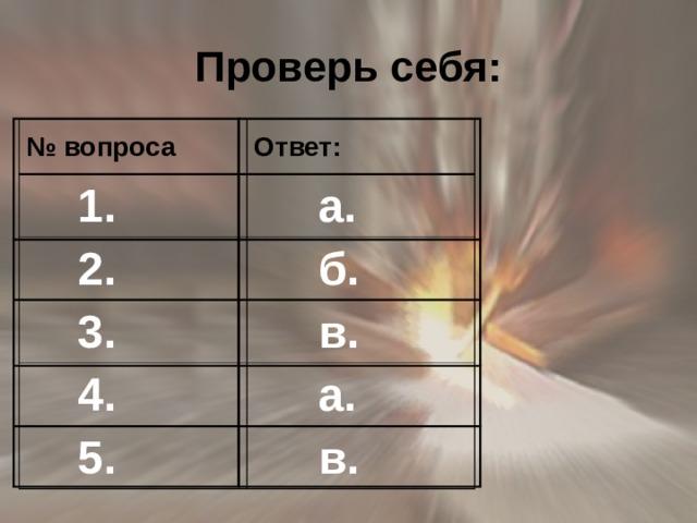 Проверь себя: № вопроса Ответ:  1.  а.  2.  б.  3.  в.  4.  а.  5.  в.