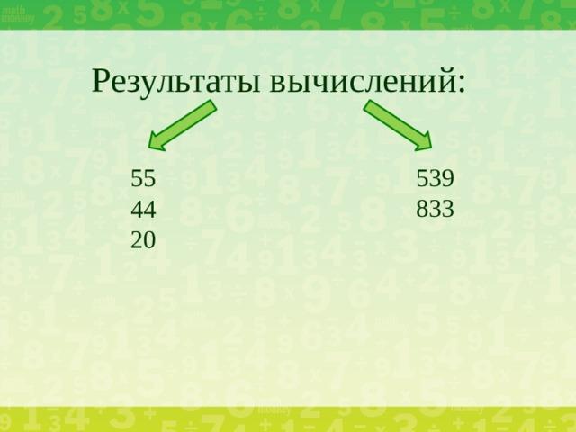 Результаты вычислений:   539 833 55 44 20