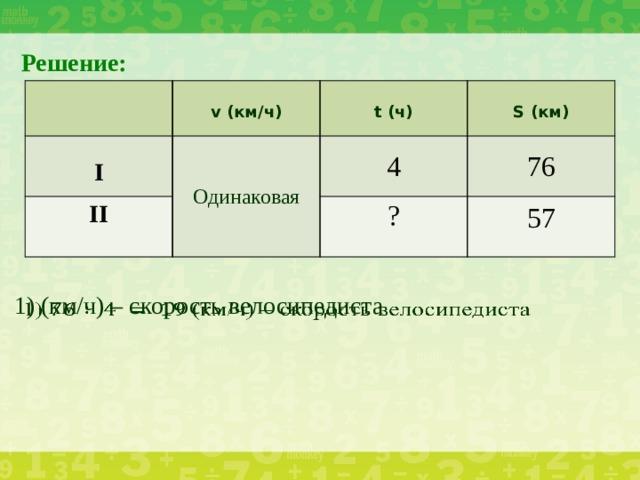 Решение:  II Одинаковая I v (км/ч)   t (ч) 4 S (км) 76 ? 57 1) (км/ч) – скорость велосипедиста