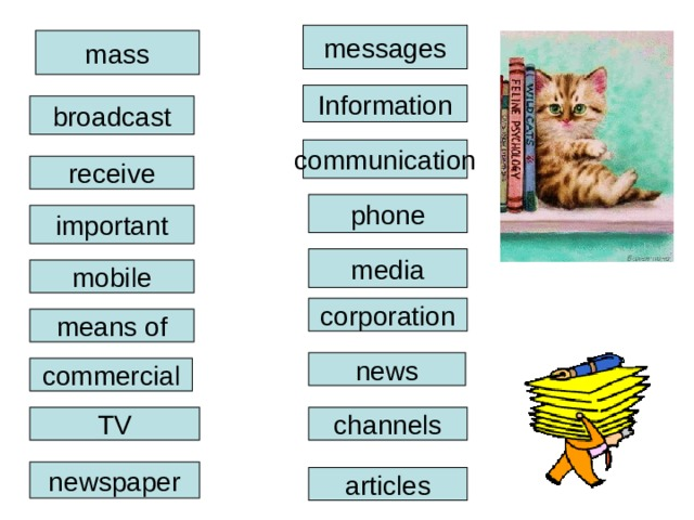messages mass Information broadcast communication receive phone important media mobile corporation means of news commercial channels TV newspaper articles