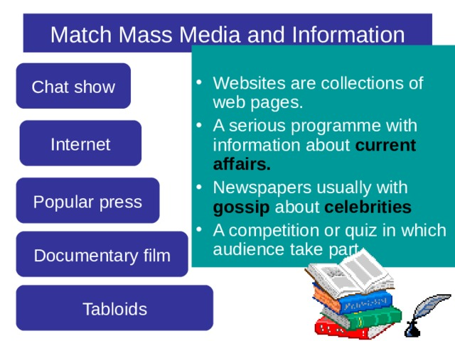 Match Mass Media and Information Websites are collections of web pages. A serious programme with information about current affairs. Newspapers usually with gossip about celebrities A competition or quiz in which audience take part.   Chat show Internet Popular press Documentary film Tabloids