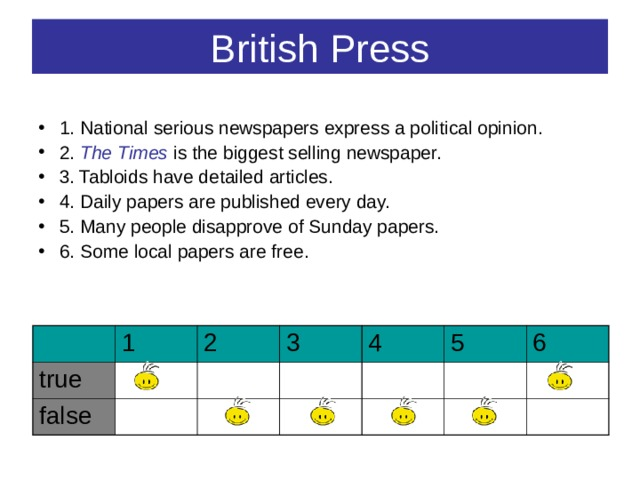 British Press 1. National serious newspapers express a political opinion. 2. The Times is the biggest selling newspaper. 3. Tabloids have detailed articles. 4. Daily papers are published every day. 5. Many people disapprove of Sunday papers. 6. Some local papers are free.  true 1 2 false 3 4 5 6
