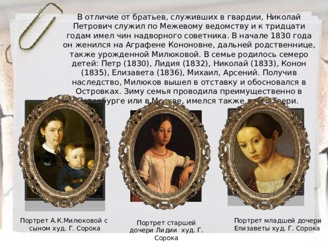 В отличие от братьев, служивших в гвардии, Николай Петрович служил по Межевому ведомству и к тридцати годам имел чин надворного советника. В начале 1830 года он женился на Аграфене Кононовне, дальней родственнице, также урожденной Милюковой. В семье родилось семеро детей: Петр (1830), Лидия (1832), Николай (1833), Конон (1835), Елизавета (1836), Михаил, Арсений. Получив наследство, Милюков вышел в отставку и обосновался в Островках. Зиму семья проводила преимущественно в Петербурге или в Москве, имелся также дом в Твери. Портрет младшей дочери Елизаветы худ. Г. Сорока Портрет А.К.Милюковой с сыном худ. Г. Сорока Портрет старшей дочери Лидии худ. Г. Сорока